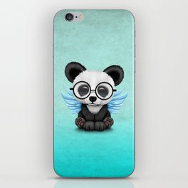 Cute Panda Cub with Fairy Wings and Glasses Blue iPhone Skin