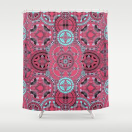 Hyperspace Mandala Coral Blue and Black Shower Curtain