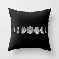 lunar Throw Pillows featuring Lunar by Christine DeLong Creative Studio