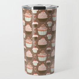 Elegant Cupcakes Food Vector Pattern Seamless Travel Mug