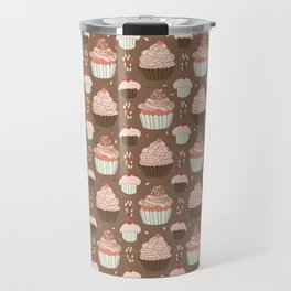 Elegant Cupcakes Food Vector Pattern Seamless Travel Mug