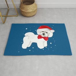Bichon Frise red christmas holiday themed pattern print pet friendly dog breed gifts Rug