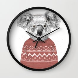 Winter koala (red) Wall Clock