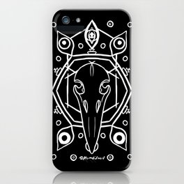 Raven Skull (All-Seeing) - White iPhone Case