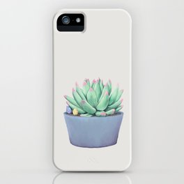 Small Potted Succulent with Crystals iPhone Case