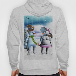 Funny, cute snowman and snow women Hoody