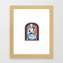 Pizza Maker Holding Pizza Peel Shield Woodcut Framed Art Print