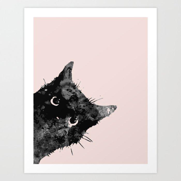 Black cat not a bad sign Art Print