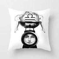 libra Throw Pillows featuring Libra by Carolina Espinosa