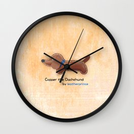 Copper the Dachshund by leatherprince Wall Clock