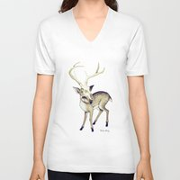 bambi V-neck T-shirts featuring Bambi by Emilie Steele