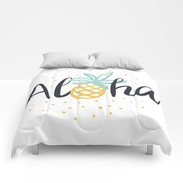 Aloha lettering and pineapple Comforters