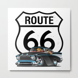Route 66 Classic Car Nostalgia Metal Print