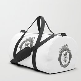 Queen Bee | Vintage Bee with Crown | Black, White and Grey | Duffle Bag