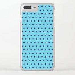 Geometrical modern navy blue aqua polka dots pattern Clear iPhone Case