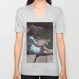 Woman Reading By The Lake (Vintage) Unisex V-Neck
