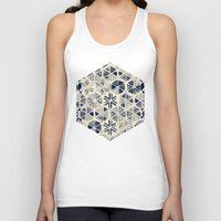 bedding Tank Tops featuring Hand Painted Triangle & Honeycomb Ink Pattern - indigo & cream by micklyn