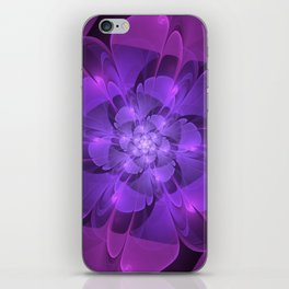 Purple Dew Drops | Abstract digital flower iPhone Skin