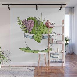 Succulent Tea Wall Mural