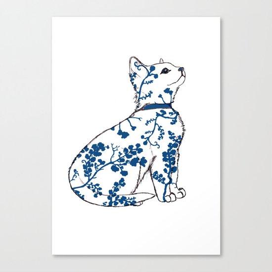 Floral Kitten Canvas Print