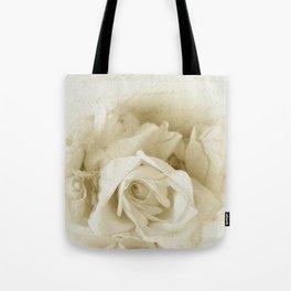Vintage Elegant Shabby Chic White Rose Script Tote Bag