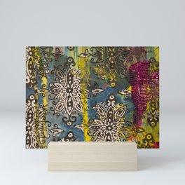 Scrambled Design in Teal, Yellow and Magenta Mini Art Print