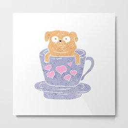 Pug dog sitting in purple  cup with heart. Metal Print