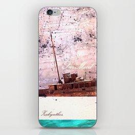 Sea-mood zakynthos, sand blue boat ship tan ocean , Christmas gift , society6 iPhone Skin