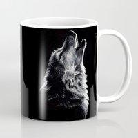 wolf Mugs featuring Wolf by Sandy Elizabeth