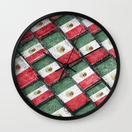 Mexican Flag Pattern Design Wall Clock