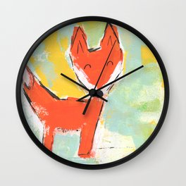 Bright and Happy Fox Wall Clock