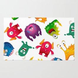 Colorful Cute Monsters Fun Cartoon Rug