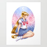 sailormoon Art Prints featuring Sailor moon by Roots-Love