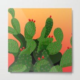 Prickly Pear Desert Sunset Metal Print
