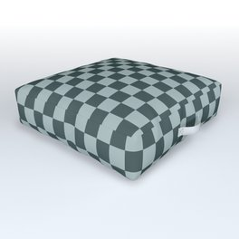 Checkerboard Pattern Inspired By Night Watch PPG1145-7 & Blue Willow Green PPG1145-4 Outdoor Floor Cushion