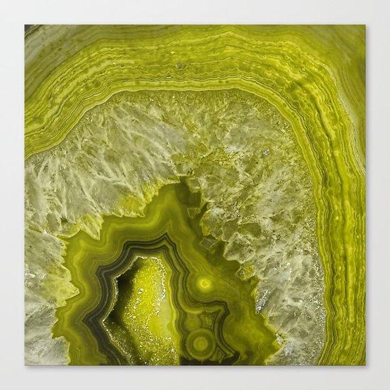 Green pantone agate mineral gem stone- Beautiful backdrop Canvas Print