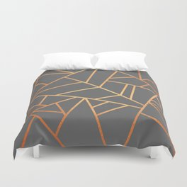 Copper And Grey Duvet Cover