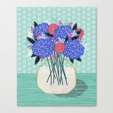 Hydrangeas Vase of cut flowers gardening gardener nature spring summer floral bloom Andrea Lauren  Canvas Print