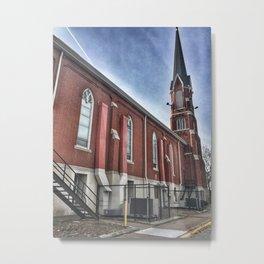 Saint Mary's Catholic Church Side View in Moline, Illinois Metal Print