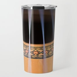 Strings of the guitar above the rose window Travel Mug