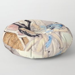 Vintage Erotic Hand Colored Nude Butt Bum Woman spanking Floor Pillow