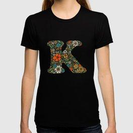 Hippie Floral Letter K T-shirt