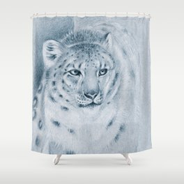 Snow Leopard Ghost Blue Drawing Shower Curtain