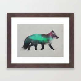 Fox In The Aurora Borealis Framed Art Print