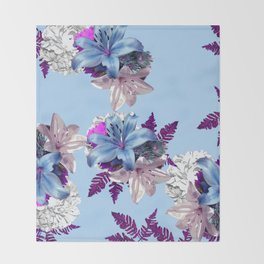 LILY SILVER BLUE AND PURPLE WITH WHITE HYDRANGEAS Throw Blanket