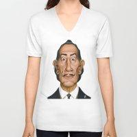 celebrity V-neck T-shirts featuring Celebrity Sunday ~ Salvador Dali by rob art | illustration