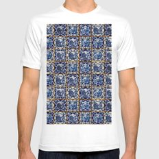 Blue Willow Tiles MEDIUM White Mens Fitted Tee