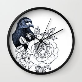 Raven and Peonies Floral Wall Clock