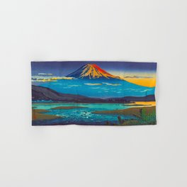 Tsuchiya Koitsu Tokaido Fujikawa Japanese Woodblock Print Sunset Colorful Hues Mountain Landscape Hand & Bath Towel