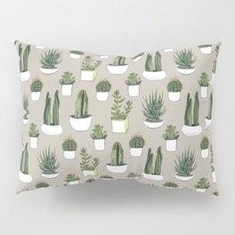 Watercolour cacti & succulents - Beige Pillow Sham